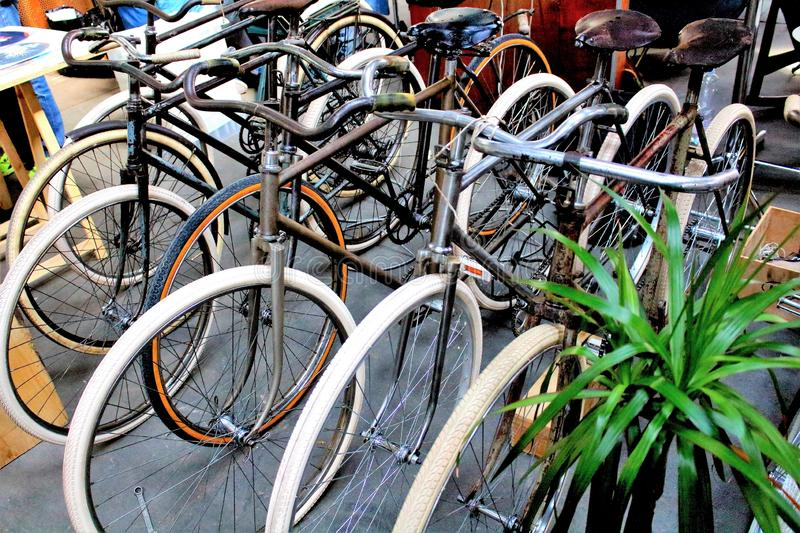 Milan, Italy - April 23, 2017: group of vintage bicycles at a vintage market. Milan, Italy - April 23, 2017: evocative group image of vintage bicycles at a stock photography