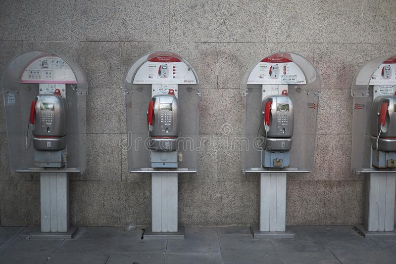Public telephone booth stock images