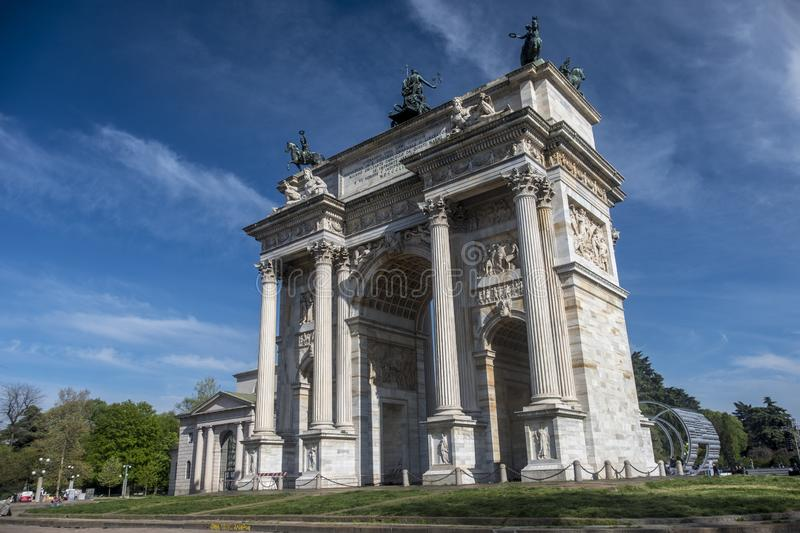 Milan, Italy: Arco della Pace. Milan, Lombardy, Italy: the historic arch known as Arco della Pace royalty free stock photo