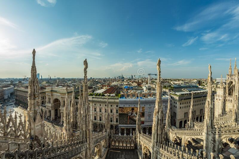 Milan, Italy - Aug 1, 2019: Aerial View from the roof of Milan Cathedral - Duomo di Milano, Lombardy, Italy.  royalty free stock photo