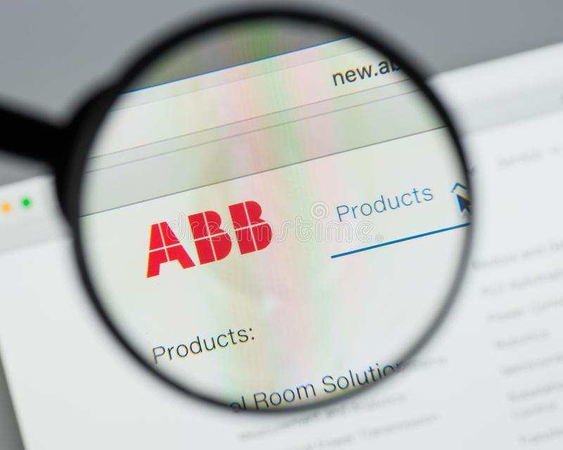 Milan, Italy - August 10, 2017: ABB website homepage. It (ASEA B royalty free stock photo