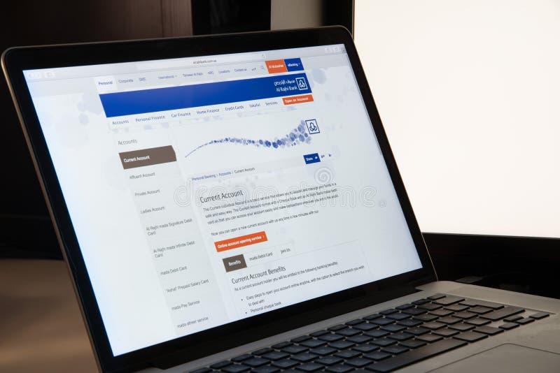 Milan, Italy - August 15, 2018: Al Rajhi Bank online banking web royalty free stock images