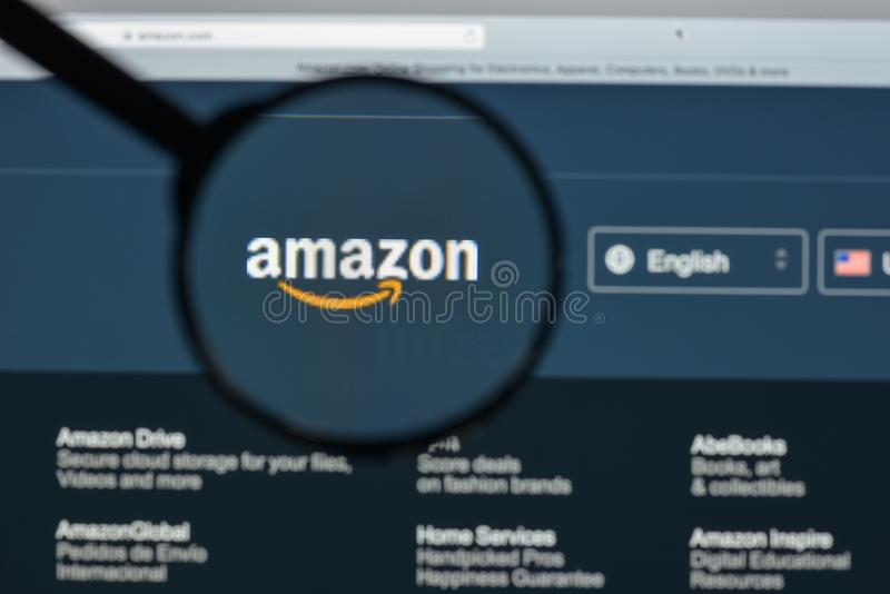 Milan, Italy - August 10, 2017: Amazon website homepage. It is a. N American electronic commerce and cloud computing company. Amazon.com logo visible stock image