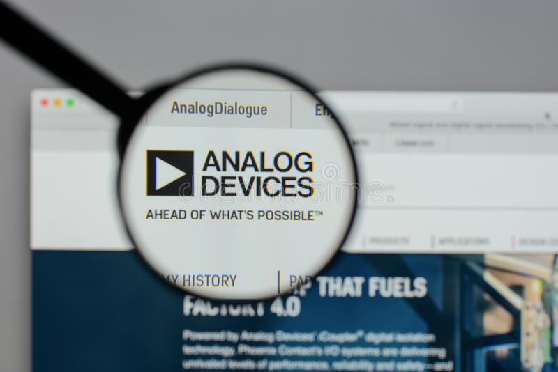 Milan, Italy - August 10, 2017: Analog Devices logo on the website homepage. stock photography