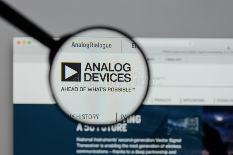 Milan, Italy - August 10, 2017: Analog Devices logo on the website homepage. royalty free stock images