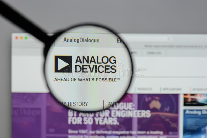 Milan, Italy - August 10, 2017: Analog Devices logo on the website homepage. royalty free stock photography