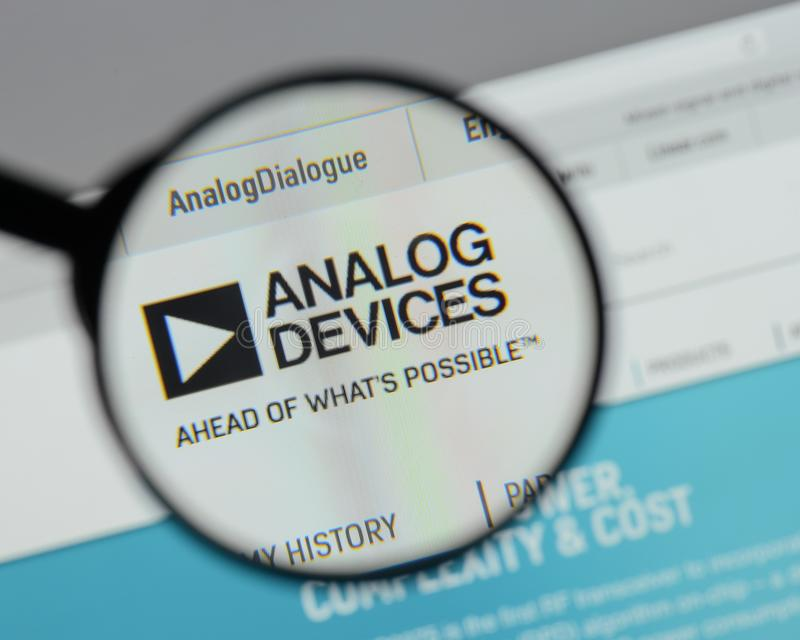 Milan, Italy - August 10, 2017: Analog Devices logo on the website homepage. royalty free stock photo
