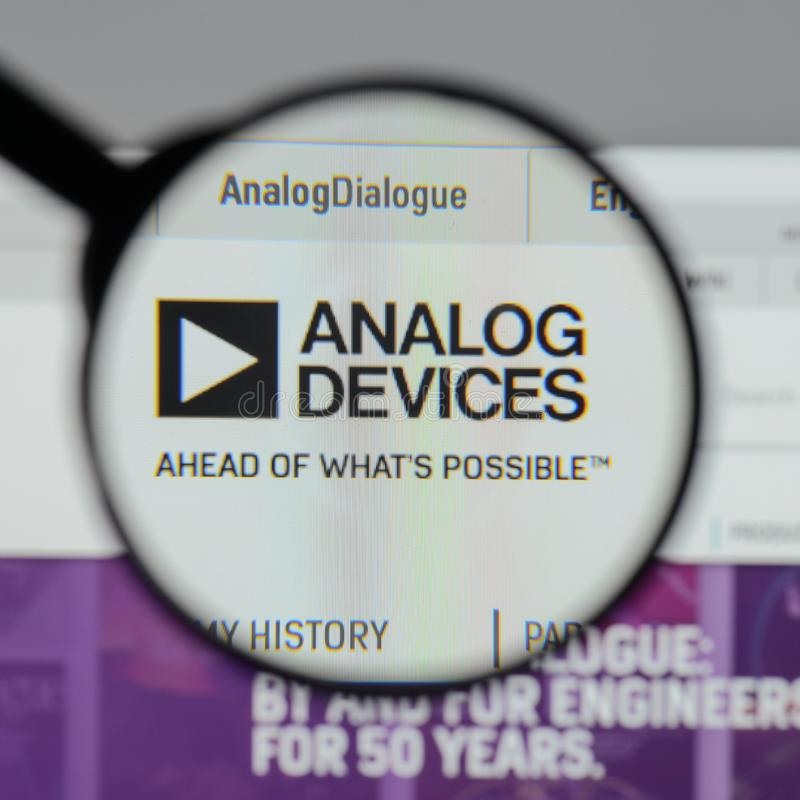 Milan, Italy - August 10, 2017: Analog Devices logo on the website homepage. stock photos