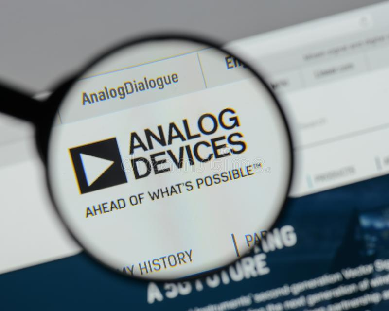 Milan, Italy - August 10, 2017: Analog Devices logo on the website homepage. royalty free stock image