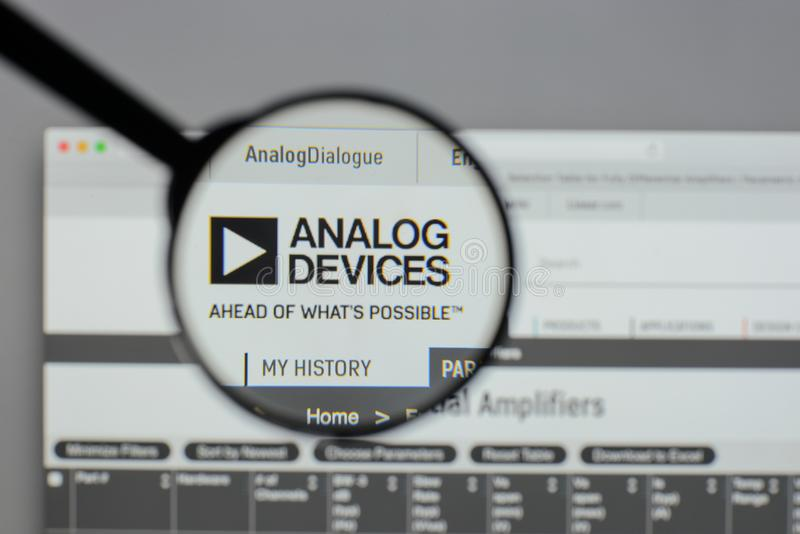 Milan, Italy - August 10, 2017: Analog Devices logo on the website homepage. royalty free stock photos