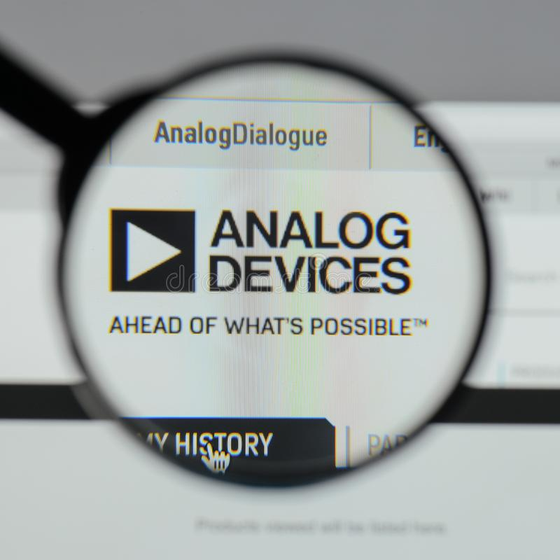 Milan, Italy - August 10, 2017: Analog Devices logo on the website homepage. stock photo