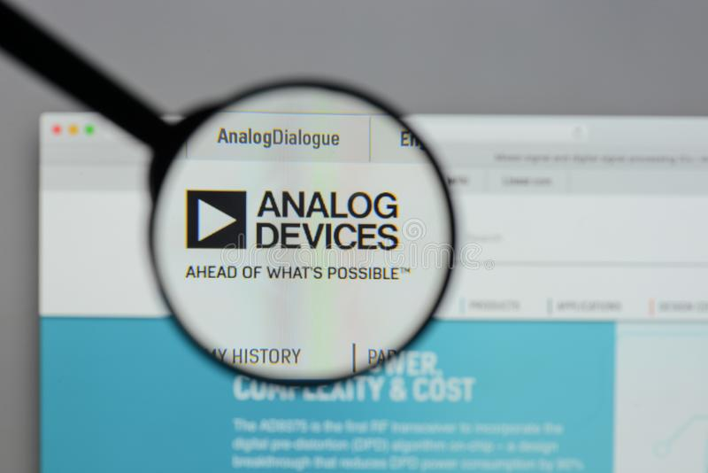 Milan, Italy - August 10, 2017: Analog Devices logo on the website homepage. stock image