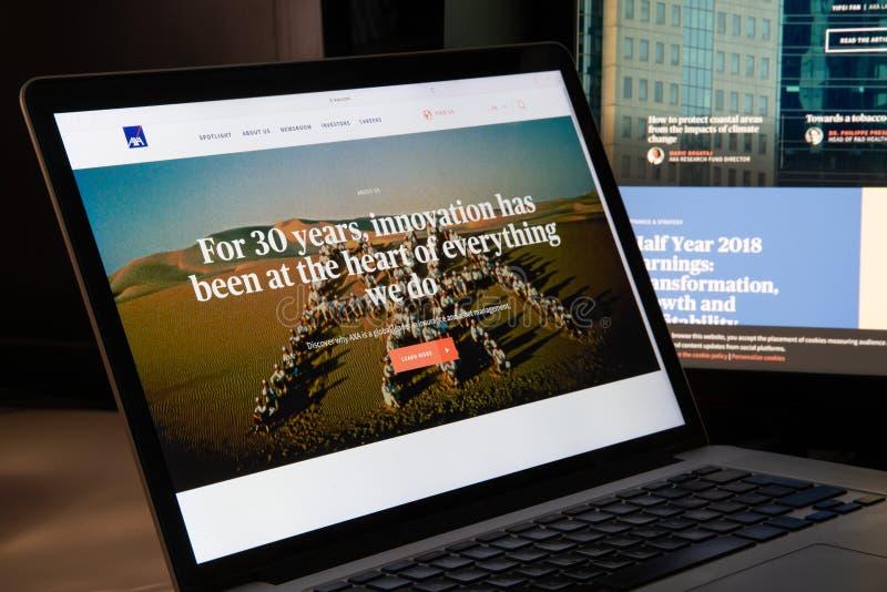 Milan, Italy - August 15, 2018: Axa insurance website homepage. Axa logo visible stock photos