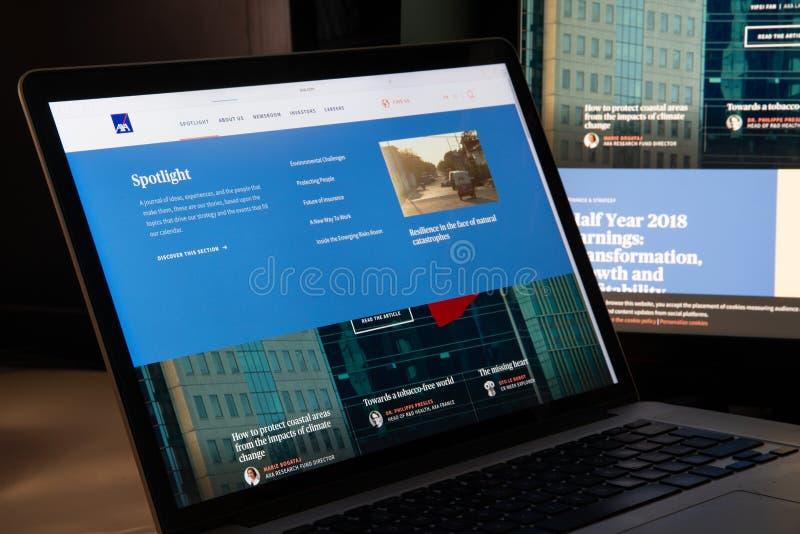 Milan, Italy - August 15, 2018: Axa insurance website homepage. Axa logo visible royalty free stock photo