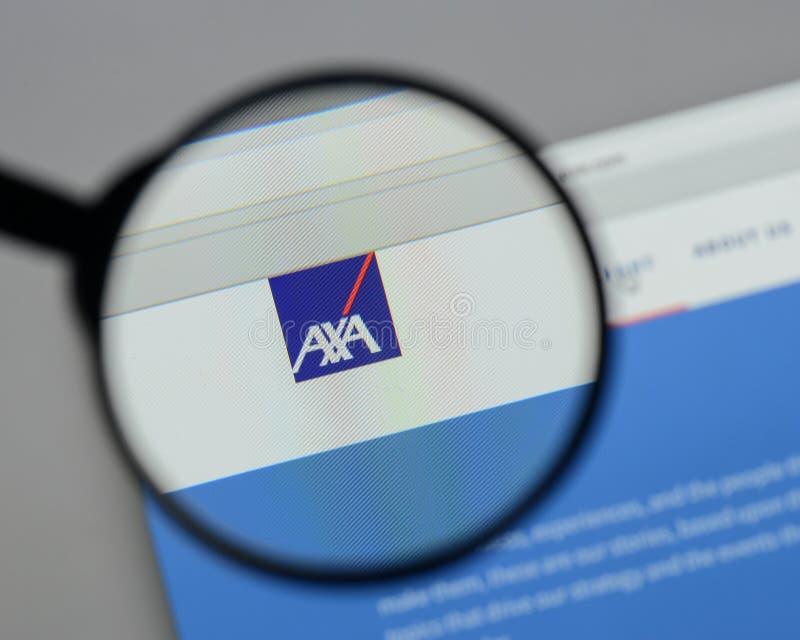 Milan, Italy - August 10, 2017: AXA logo on the website homepag. E royalty free stock photo