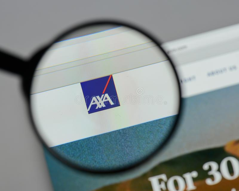 Milan, Italy - August 10, 2017: AXA logo on the website homepag. E stock images