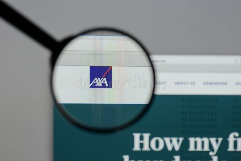 Milan, Italy - August 10, 2017: AXA logo on the website homepag. E stock image
