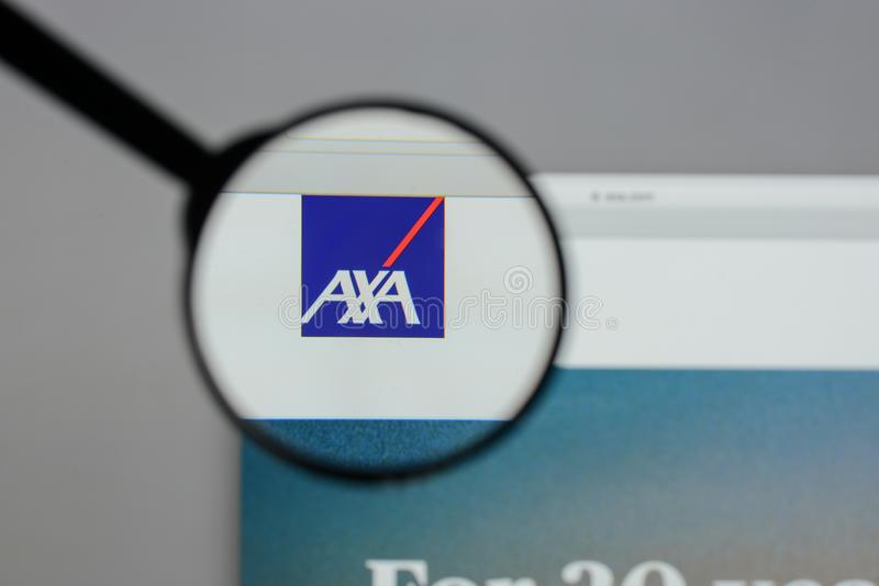 Milan, Italy - August 10, 2017: AXA logo on the website homepag. E royalty free stock images