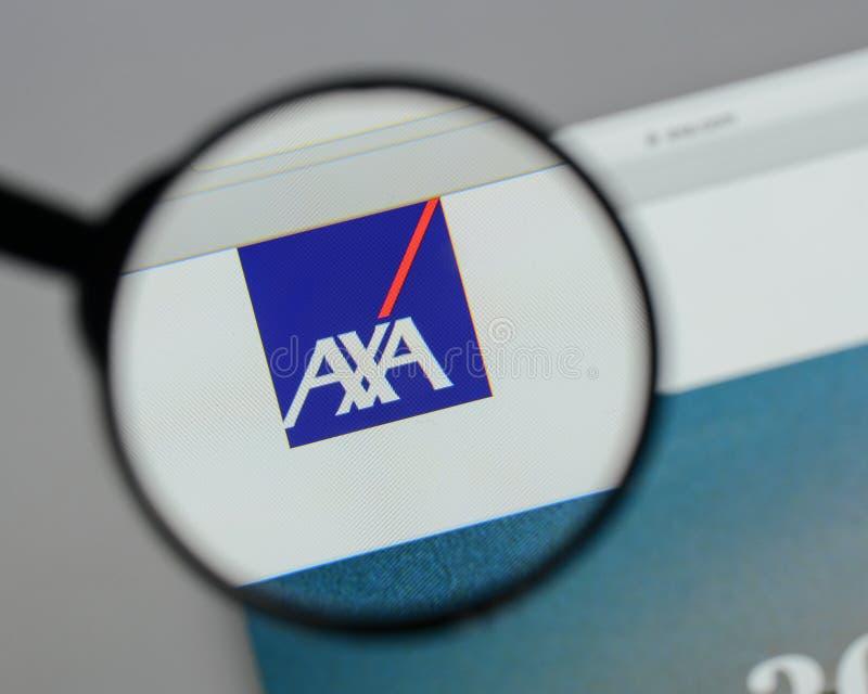 Milan, Italy - August 10, 2017: AXA logo on the website homepag. E stock photo