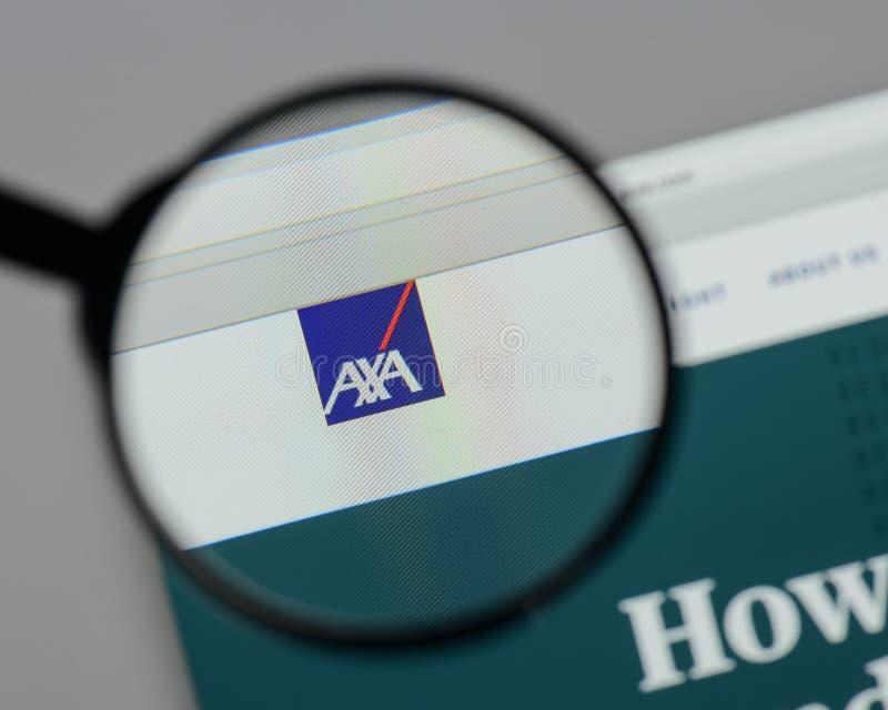 Milan, Italy - August 10, 2017: AXA logo on the website homepag. E royalty free stock photos
