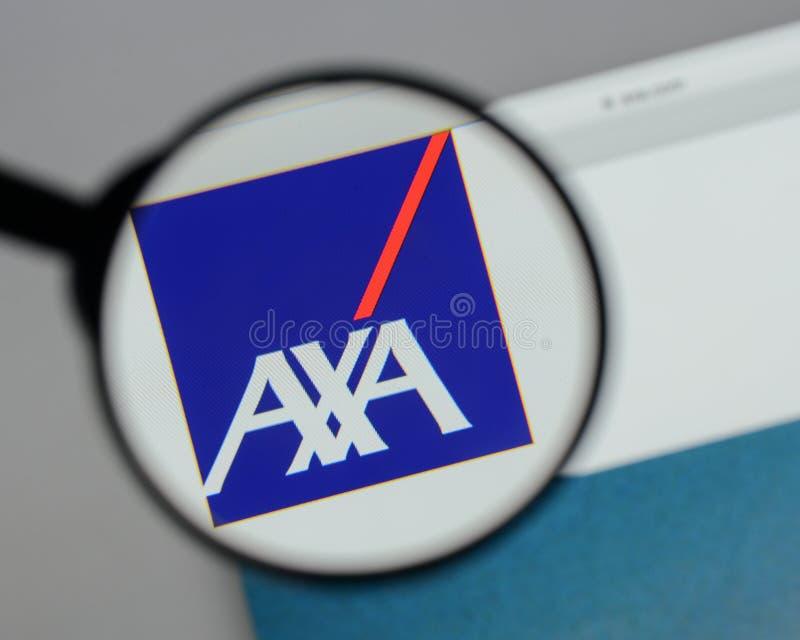 Milan, Italy - August 10, 2017: AXA logo on the website homepag. E royalty free stock photography