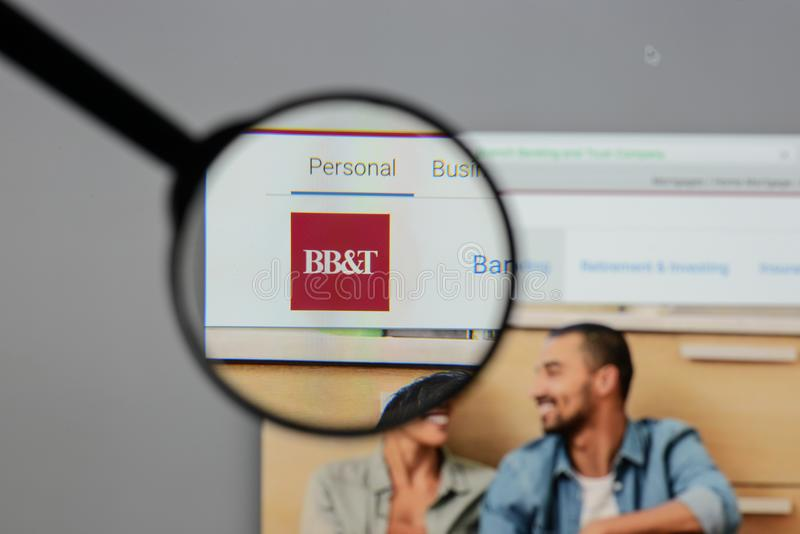 Milan, Italy - August 10, 2017: BB&T Corp. logo on the website h. Omepage stock photography