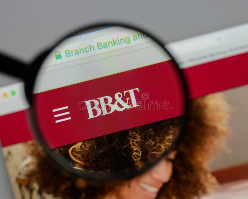 Milan, Italy - August 10, 2017: BB&T Corp. logo on the website h. Omepage stock image