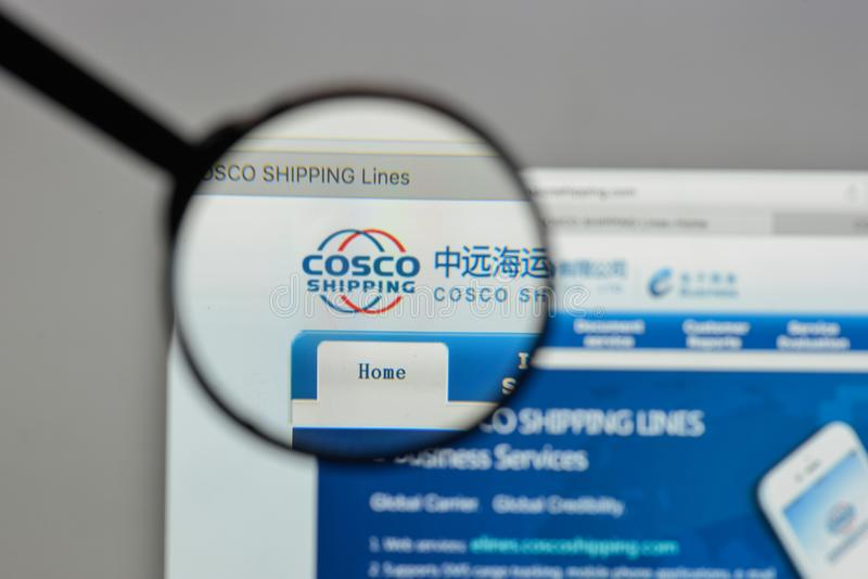 Milan, Italy - August 10, 2017: China COSCO Shipping logo on the. Website homepage royalty free stock photos