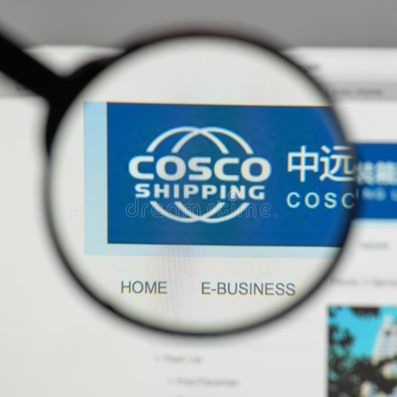 Milan, Italy - August 10, 2017: China COSCO Shipping logo on the. Website homepage stock photos