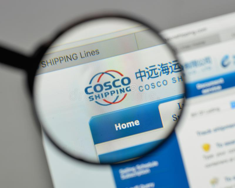 Milan, Italy - August 10, 2017: China COSCO Shipping logo on the. Website homepage royalty free stock image
