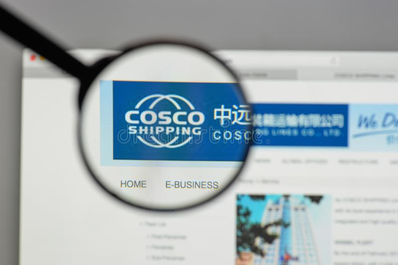 Milan, Italy - August 10, 2017: China COSCO Shipping logo on the. Website homepage royalty free stock images