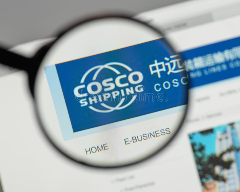 Milan, Italy - August 10, 2017: China COSCO Shipping logo on the. Website homepage stock image