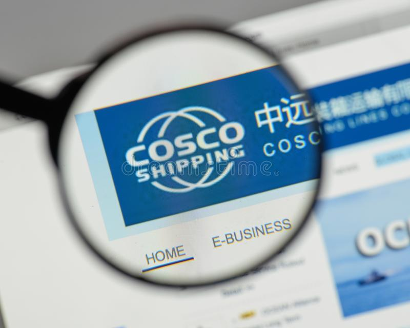 Milan, Italy - August 10, 2017: China COSCO Shipping logo on the. Website homepage stock photography
