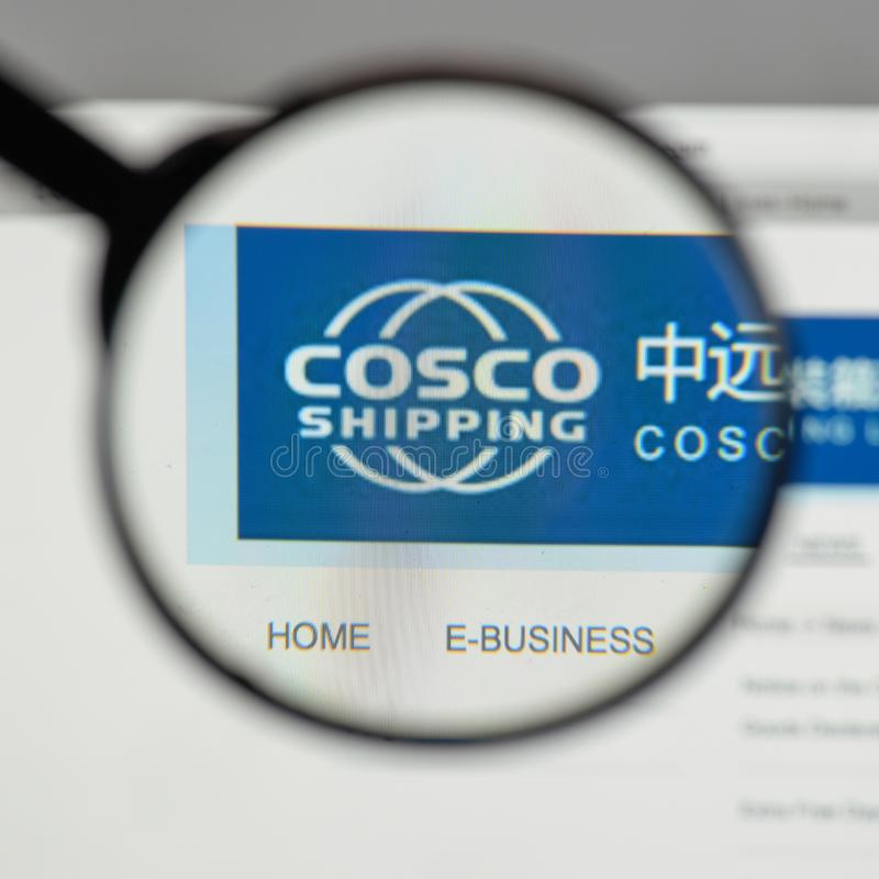 Milan, Italy - August 10, 2017: China COSCO Shipping logo on the. Website homepage stock photo