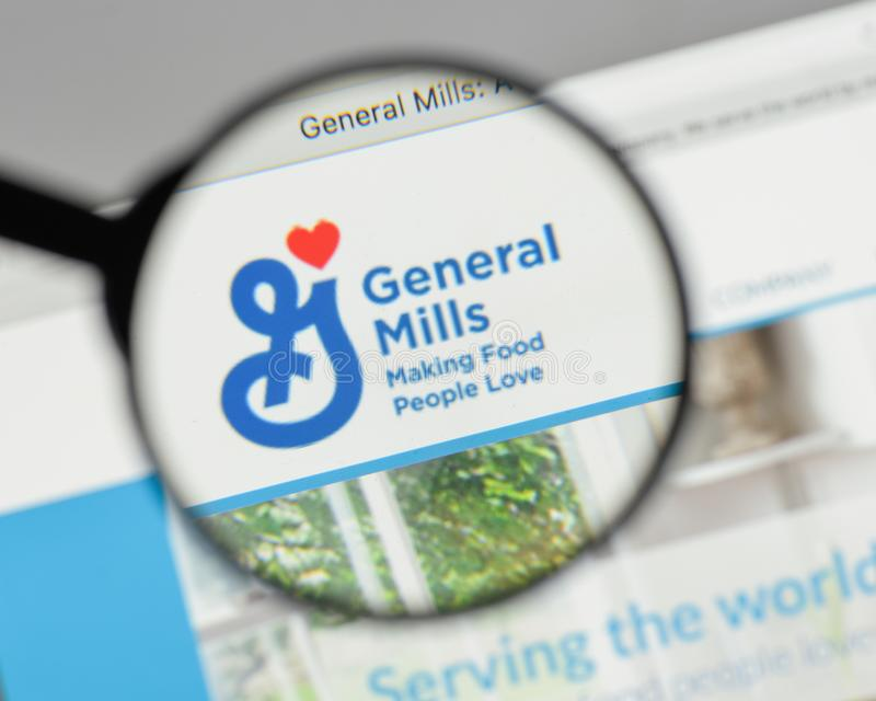 Milan, Italy - August 10, 2017: General Mills logo on the website homepage. stock images