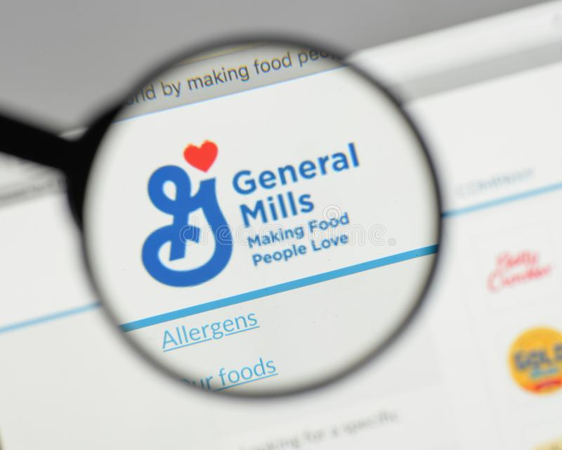 Milan, Italy - August 10, 2017: General Mills logo on the website homepage. royalty free stock photo