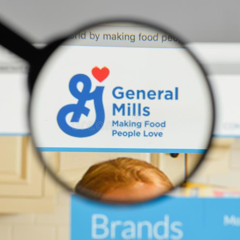 Milan, Italy - August 10, 2017: General Mills logo on the website homepage. royalty free stock image