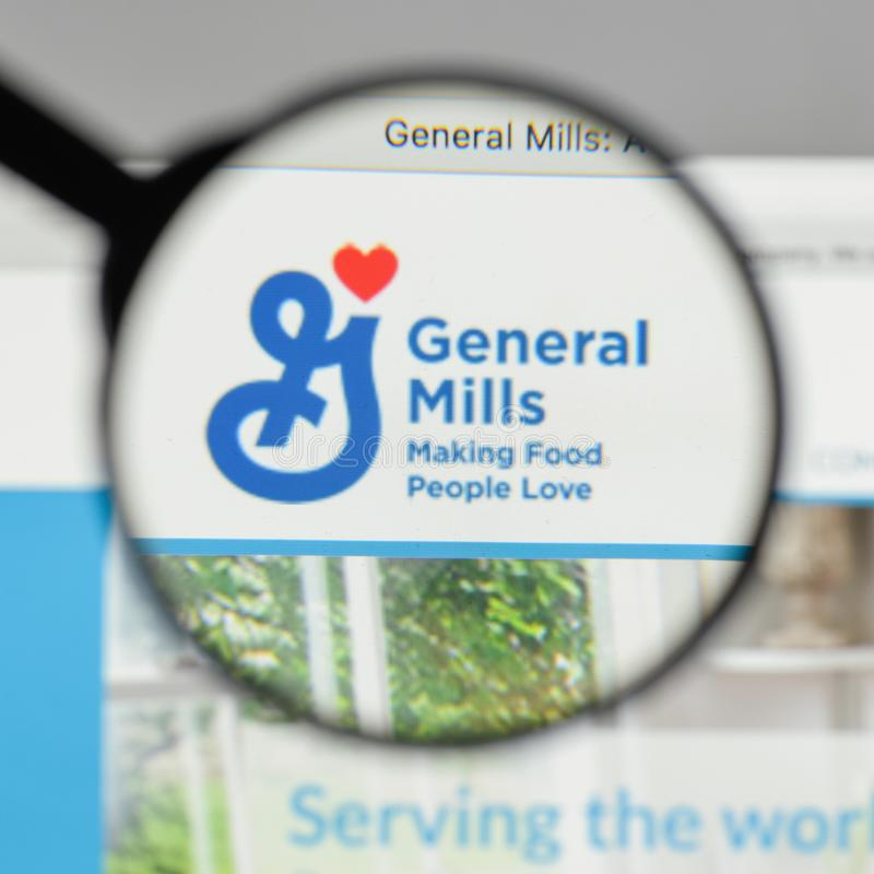 Milan, Italy - August 10, 2017: General Mills logo on the website homepage. stock photos
