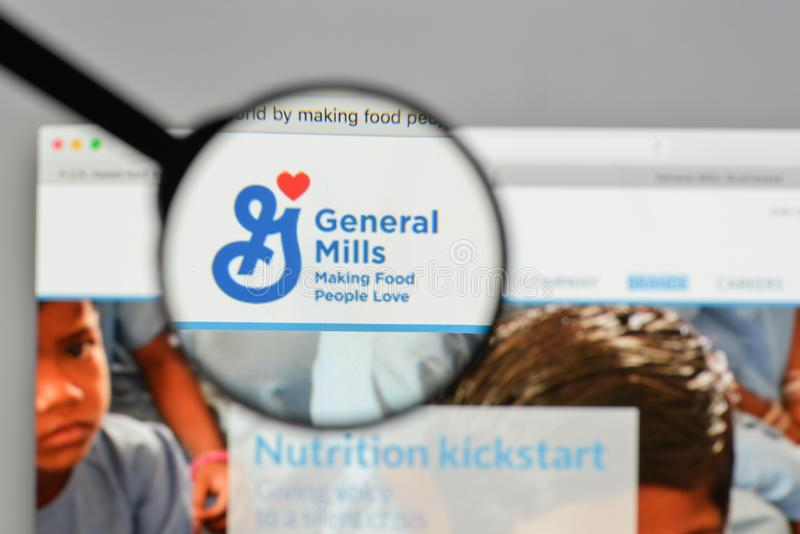 Milan, Italy - August 10, 2017: General Mills logo on the website homepage. stock photography