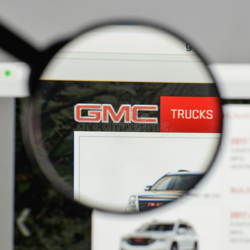 Milan, Italy - August 10, 2017: GMC logo on the website homepage stock photo