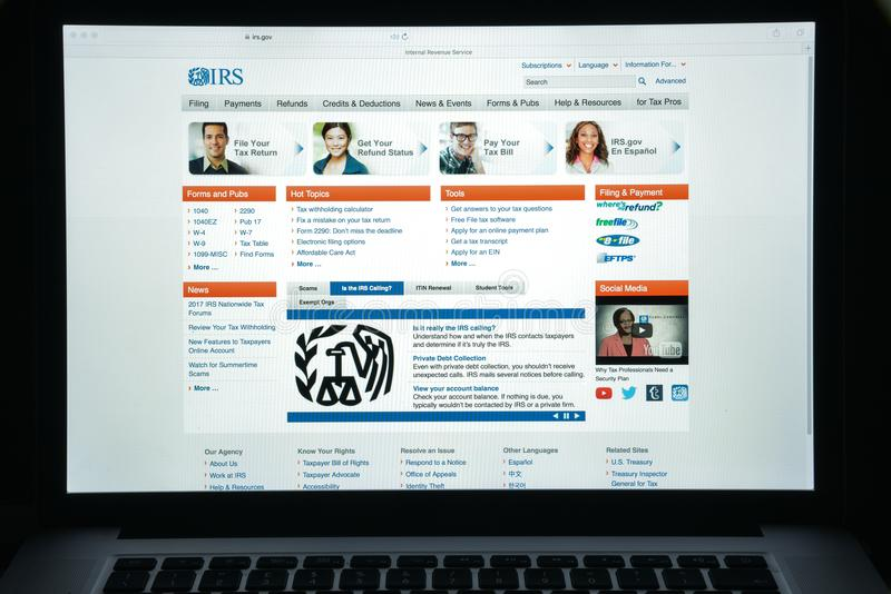 Milan, Italy - August 10, 2017: IRS website homepage. It is the revenue service of the United States federal government. Irs logo. Visible stock image