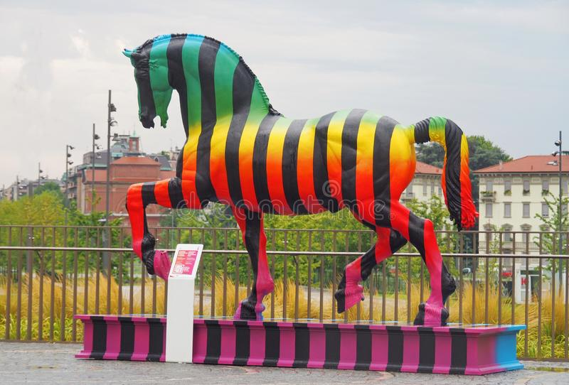 MILAN, Italy: 12 August 2019: Leonardo Horse project. Leonardo Horse project, the Leonardo`s horse revisited by autor Marcelo Burlon in new modern area `Tre stock images