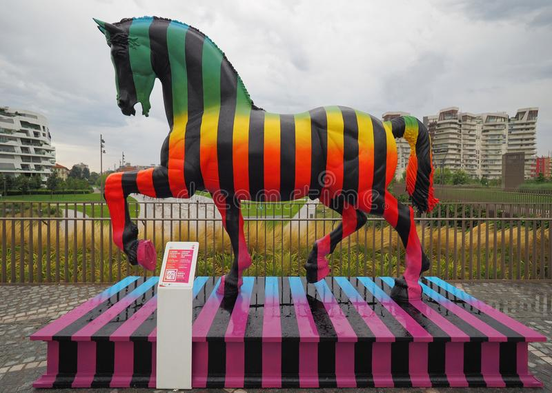 MILAN, Italy: 12 August 2019: Leonardo Horse project. Leonardo Horse project, the Leonardo`s horse revisited by autor Marcelo Burlon in new modern area `Tre royalty free stock photos