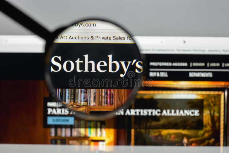 Milan, Italy - August 10, 2017: Sotheby's website. It is a Briti. Sh multinational corporation . One of the world's largest brokers of fine and decorative art royalty free stock photography