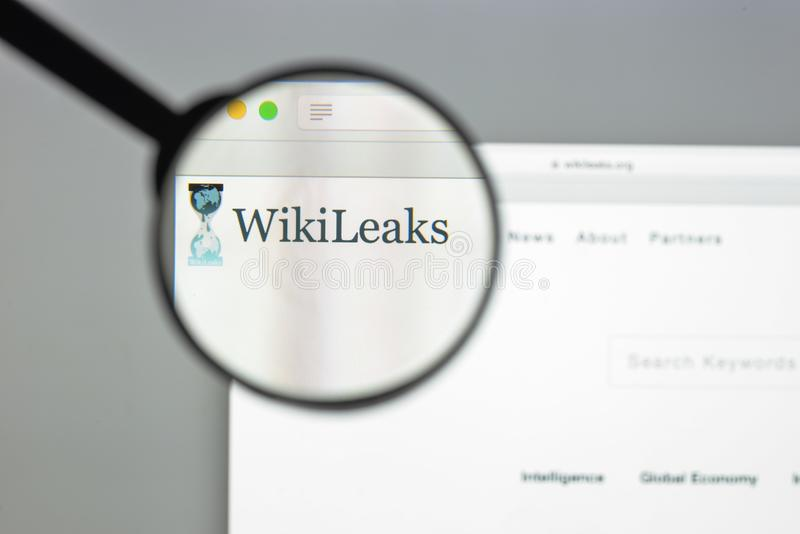 Milan, Italy - August 10, 2017: Wikileaks website homepage. It i. S an international non-profit organisation that publishes secret information and classified stock photos