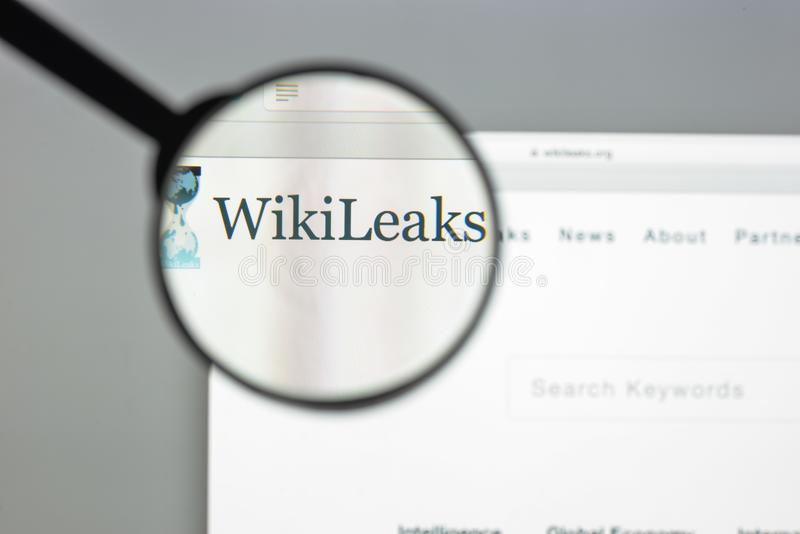 Milan, Italy - August 10, 2017: Wikileaks website homepage. It i. S an international non-profit organisation that publishes secret information and classified stock photo