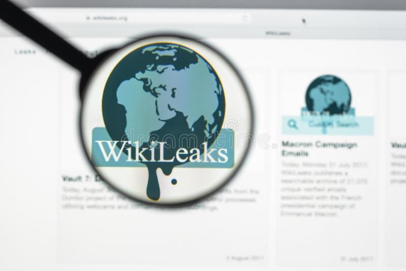 Milan, Italy - August 10, 2017: Wikileaks website homepage. It i. S an international non-profit organisation that publishes secret information and classified royalty free stock image