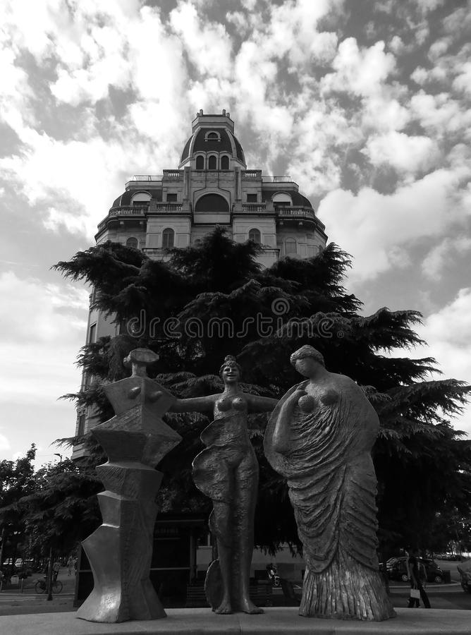 Milan Italy 2015 B/W de construction antique images libres de droits