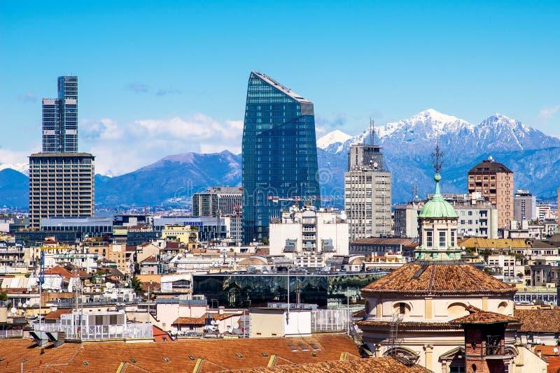MILAN, ITALY - CIRCA JANUARY 2018: Panoramic view from Duomo roof terrace to Porta Nuova district, the Diamond Tower stock photos