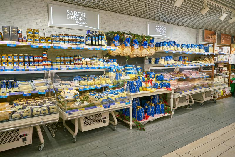 Grocery shop. MILAN, ITALY - CIRCA NOVEMBER, 2017: food products for sale in shop in Milan royalty free stock photo
